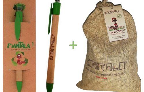 Penna biodegradabile con semi di basilico biologico + sacchetto di juta da 1.5 KG di humus vagliato extrafine